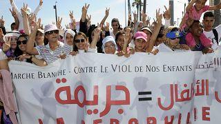 مظاهرة ضد الاعتداء الجنسي على الأطفال في الدار البيضاء المغرب 2013.