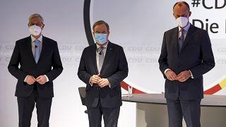 Röttgen, Laschet und Merz im CDU-Hauptsitz in Berlin.