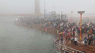 مهرجان كومبه ميلا الديني في هاريدوار، الهند، 14 يناير 2021.