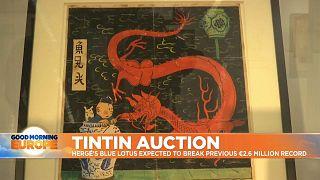 Rare Tintin artwork goes on auction in Paris