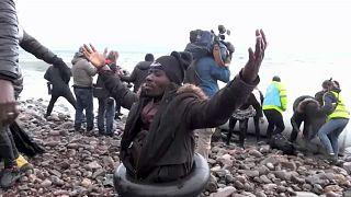 Migrant nach Ankunft in Griechenland.