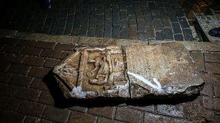 Bursa'da inşaat molozundan kurtarılan Roma mezar steli