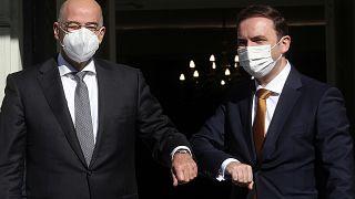 Ο υπουργός Εξωτερικών Νίκος Δένδιας υποδέχεται τον υπουργό Εξωτερικών της Βόρειας Μακεδονίας Μπουγιάρ Οσμάνι στο Υπουργείο Εξωτερικών, Αθήνα