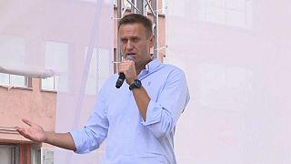Alexei Navani en un mitin en Rusia antes de ser envenenado