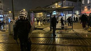 پلیس بروکسل در میدان لیتز