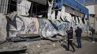 Megrongálódott gázai üdítőital-gyártó üzem 2020. december 26-án, az izraeli légierő bombázása után.