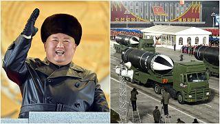 بدا الزعيم الكوري الشمالي كيم جونغ-أون مبتسماً خلال الاستعراض العسكري