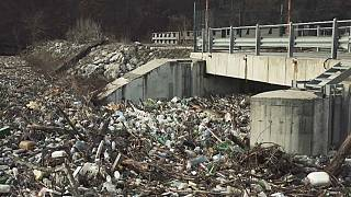 Rubbish piling up at a hydroelectric dam in Svoge, Bulgaria