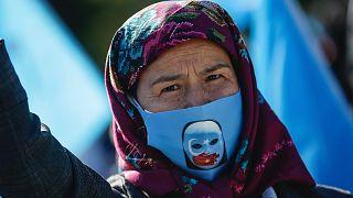 Çin'in Doğu Türkistan politikasına karşı eylemden bir kare / Arşiv