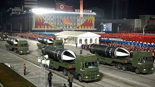 Missiles on show during a military parade marking the ruling party congress in North Korea
