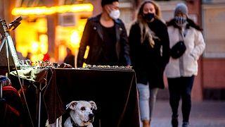 Junge Leute mit Masken, einer mit FFP2, in Frankfurt