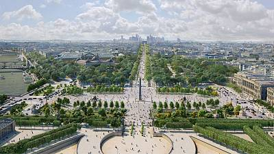 An artist's impression showing the Concorde Square and the Champs-Elysees avenue in Paris
