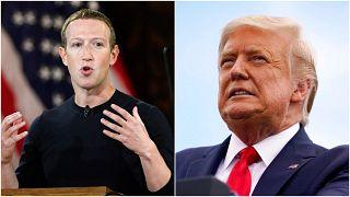 Facebook'un kurucusu Mark Zuckerberg (solda), ABD'nin mevcut Başkanı Donald Trump