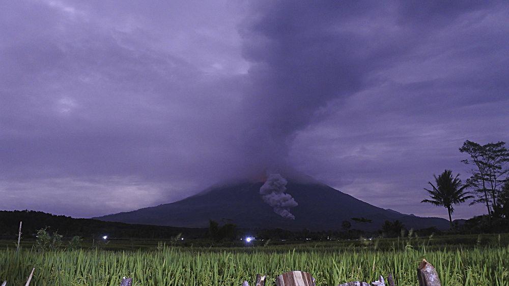 Indonesia's Mount Semeru spews hot ash 5.6km into the air