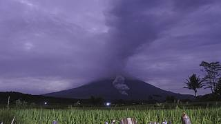 Indonesia's Mount Semeru spews hot ash 5.6km into the air