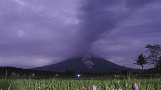 El volcán Semeru en Indonesia escupe nubes de humo caliente a más de 4 kilómetros de altura