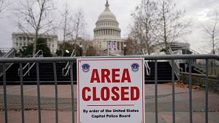 File photo: signs are posted to close the area around the U.S. Capitol ahead of the inauguration of President-elect Joe Biden in Washington.  Jan. 11, 2021