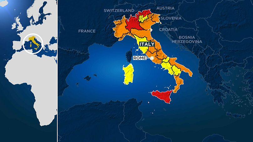 Les zones rouges, oranges et jaunes d'Italie