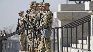 Utah National Guardsmen are shown at the Utah State Capitol Sunday, Jan. 17, 2021, in Salt Lake City.