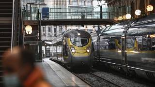 A Eurostar train arrives from London at the Gare du Nord train station in Paris Wednesday, Dec. 23, 2020.