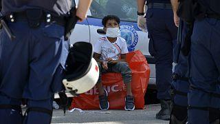 کودک پناهجو در جزیره لسبوس یونان