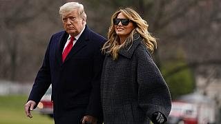 Melania und Donald Trump bei ihrer Rückkehr nach Washington aus Mar-a-Lago Ende Dezember