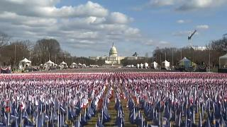 US flags are being placed in the National Mall in Washington DC. They represent the hundreds of thousands of Americans who have lost their lives to Covid-19.