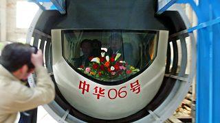 Çin'in geliştirdiği hızlı Maglev trenlerinden bir kare.