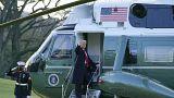Donald Trump quittant la Maison Blanche à bord de l'hélicoptère présidentiel Marine One, Washington le 20 janvier 2021