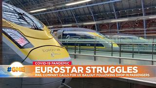 Eurostar trains at St Pancras station in London