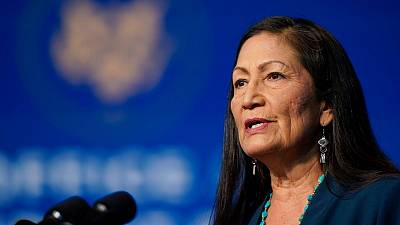 Rep. Deb Haaland speaks at The Queen Theater in Wilmington on the 19th December, 2020.
