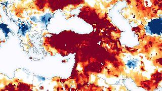NASA'nın 2020-2021 döneminde Türkiye'de kuraklığı gösteren haritası.