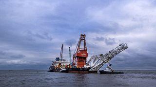 Russisches Verlegeschiff Fortuna in der Ostsee.