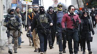 Manifestation à Richmond (Virginie) pour la défense du droit de détenir des armes, le 18/01/2021
