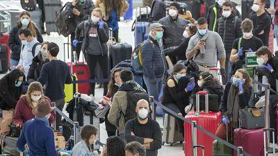 Travellers at JFK Airport, New York