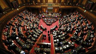 Italian Prime Minister Giuseppe Conte speaks during his final address at the Senate prior to a confidence vote, in Rome, Tuesday, Jan. 19, 2021.