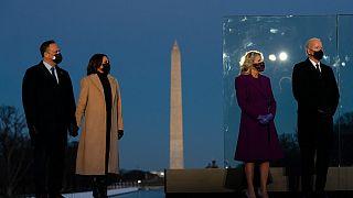 President-elect Joe Biden and his wife Jill with Vice President-elect Kamala Harris and her husband Doug Emhoff at the Lincoln Memorial, Washington DC, January 19, 2021.