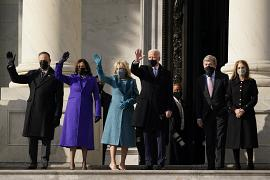 President-elect Joe Biden, his wife Jill Biden and Vice President-elect Kamala Harris and her husband Doug Emhoff arrive at the steps of the U.S. Capitol.