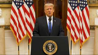 US President Donald Trump gives farewell address on January 19, 2021, in Washington DC.