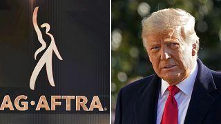 شعار النقابة الأمريكية للممثلين وصورة الرئيس المنتهية ولايته دونالد ترامب