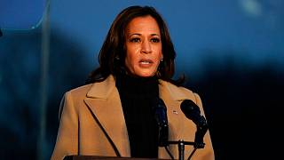 Vice President-elect Kamala Harris speaks during a COVID-19 memorial Tuesday, Jan. 19, 2021, in Washington. (AP Photo/Evan Vucci)