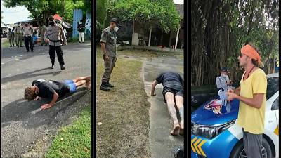 Police in Bali are making tourists do push-ups for not wearing a face mask