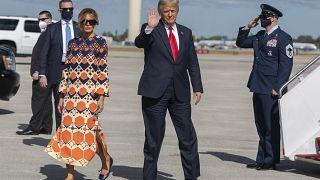 Donald y Melania Trump a su llegada a Florida