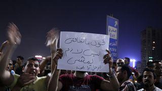 في 22 سبتمبر/ أيلول 2019، طالب متظاهرون مصريون أثناء مشاركتهم في مظاهرة بعزل الرئيس عبد الفتاح السيسي.