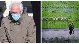 A sinistra, foto AP del senatore del Vermont, Bernie Sanders, durante l'inaugurazione di Biden. A destra, Sanders seduto davanti all'edificio di Euronews