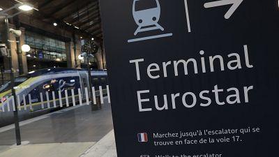 Eurostar signage at Gare du Nord in Paris