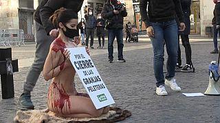 جاسمين مورينو تحتج عارية على صناعة الفراء في برشلونة