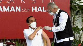 Indonesian President Joko Widodo being vaccinated