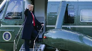 President Donald Trump gestures as he boards Marine One on the South Lawn of the White House, Wednesday, Jan. 20, 2021, in Washington DC.