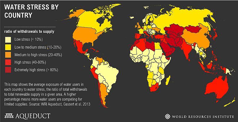 """Türkiye Dünya Doğal Kaynaklar Enstitüsü (WRI) verilerine göre su sıkıntısı çeken ülkeler arasında en üst seviyenin bir altı olan """"yüksek stres"""" kategorisinde yer alıyor."""
